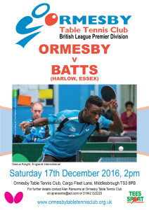 Ormesby v BATTS Brit Prem League Dec 17 2016